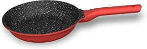 8 inch Nonstick Frying Pan, Professional Grade Die Cast Aluminum Pan, 2 Layer Nonstick Coating, Bakelite Handle Nonstick Pan For All Cooktops Bold Red/Black Design by Chef's Star