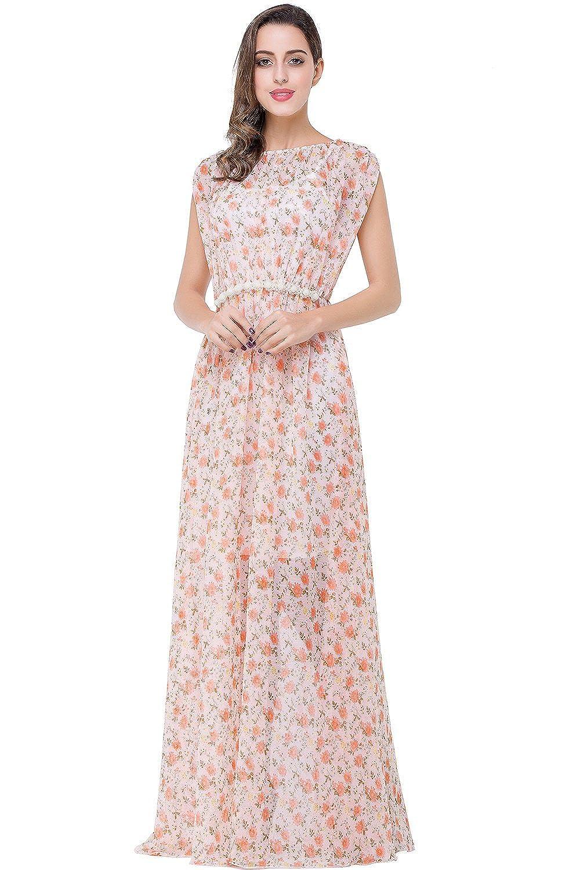 Babyonline® Damen Lang Chiffon Flügelhülse Brautjunferkleider Abendkleid Strandkleider