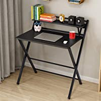 Genamis Folding Computer Desk Small Laptop Table for Small Space, Foldable Study Writing Desk with Storage Bookshelf, Home Office Simple Heavy Duty Notebook Table, No Need to Install (Black)