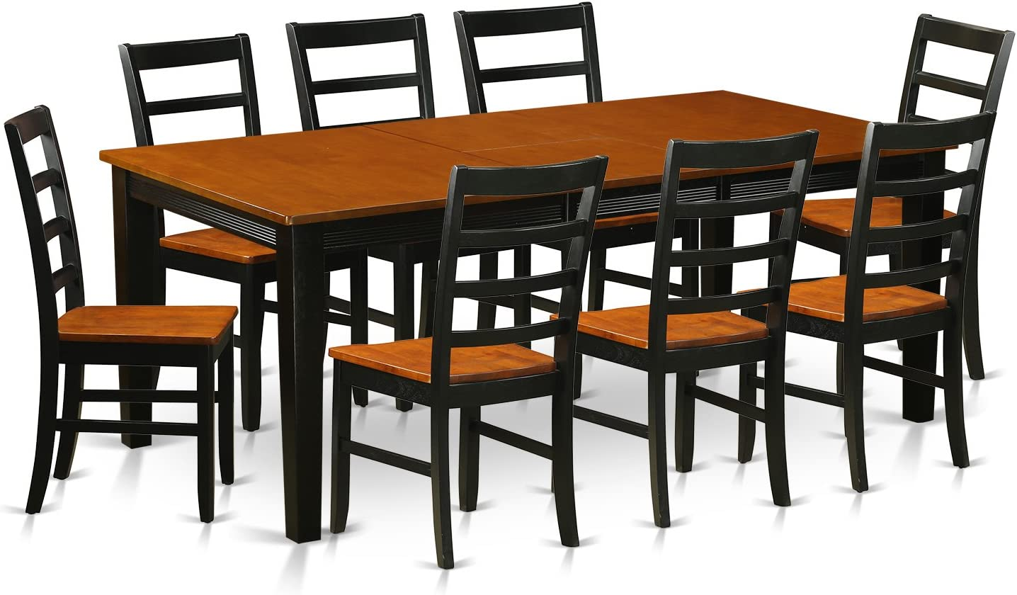 QUPF9-BCH-W 9 Pc Dining room set-Dining Table with 8 Wooden Dining Chairs