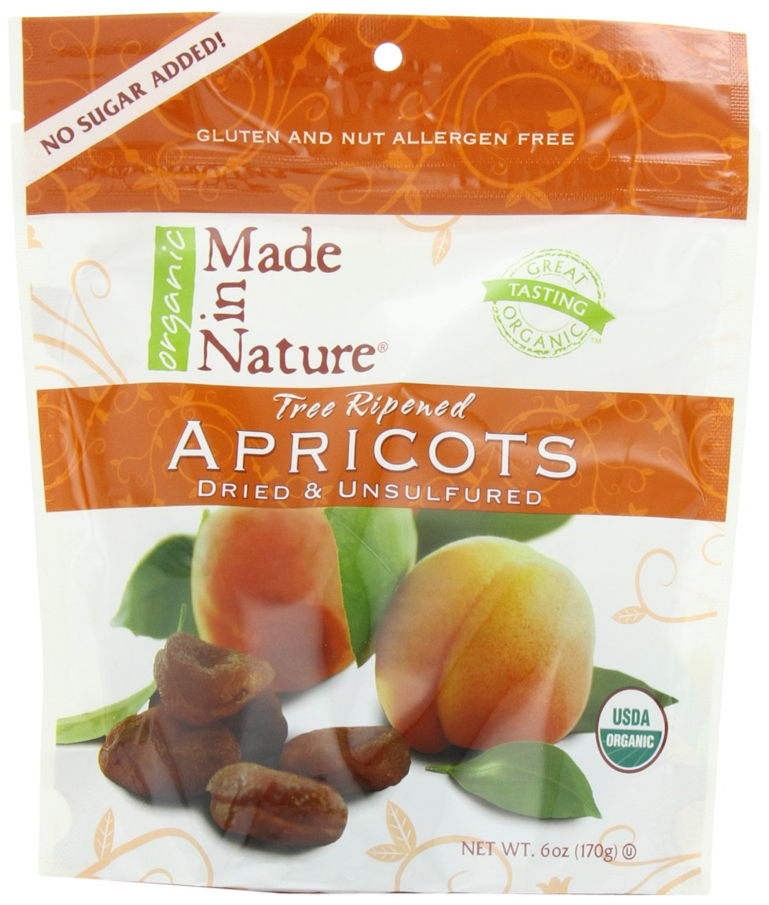 Made In Nature Organic Apricots, Dried, Unsulfured, 6-Ounce Bags (Pack of 6)
