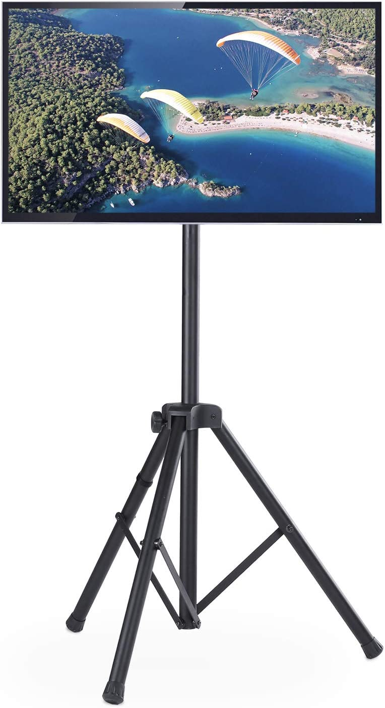 TAVR Mobile TV Stand Rolling TV Cart Floor Stand with Mount on Lockable Wheels Height Adjustable Shelf for 32-70 inch Flat Screen or Curved TVs Monitors Display Trolley Stand Loading 110lbs
