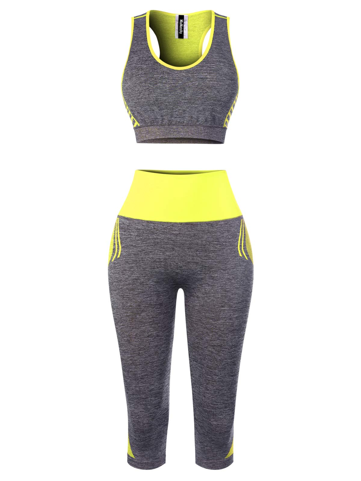 MixMatchy Women's Sports Gym Yoga Workout Activewear Sets Tank Crop Top & Capri Leggings Set Lime ONE by MixMatchy