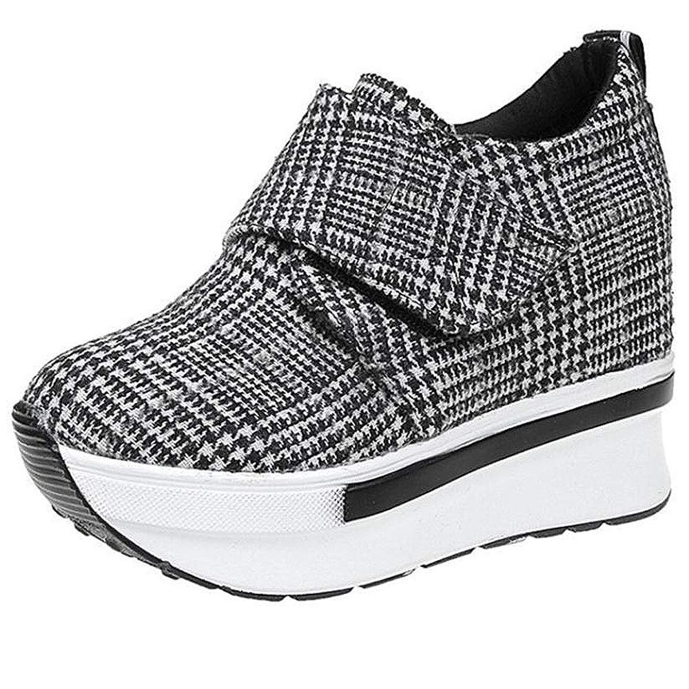 c8866eee7e5559 Damen Wedges mit Keilabsatz Sneakers Mode Freizeitschuhen Dicke Boden  Plateauschuhe Outdoor gemütlich Laufschuhe Grau Schwarz  Amazon.de  Schuhe    ...