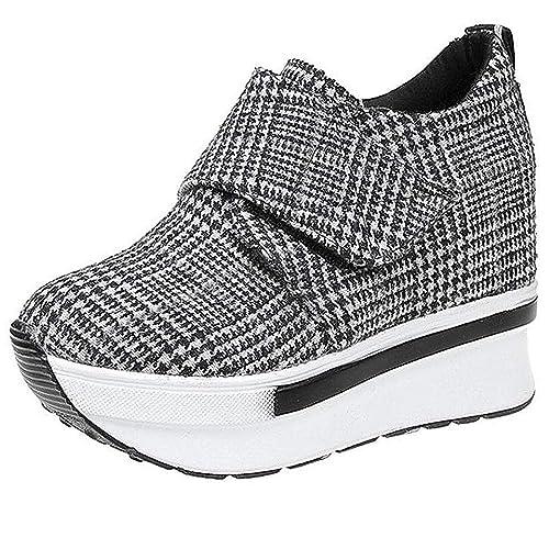 Mujer Plataforma de cuñas Zapato de Deporte Zapatillas Altas Casual Running Senderismo Zapatillas Gris Negro Moda: Amazon.es: Zapatos y complementos