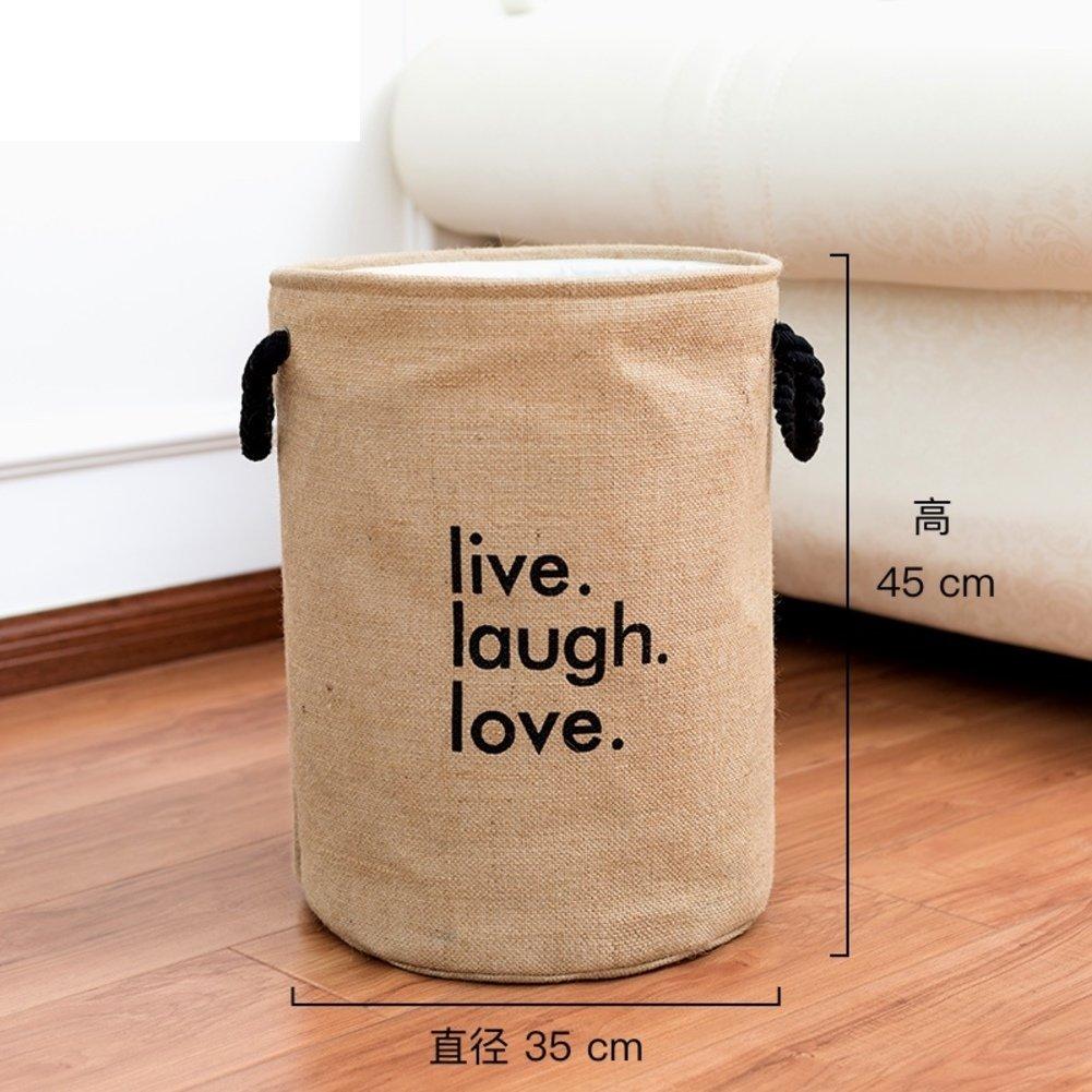 Thicken linen laundry hamper,Household storage bin storage basket fold laundry basket for college dorm-C 35x45cm(14x18inch)