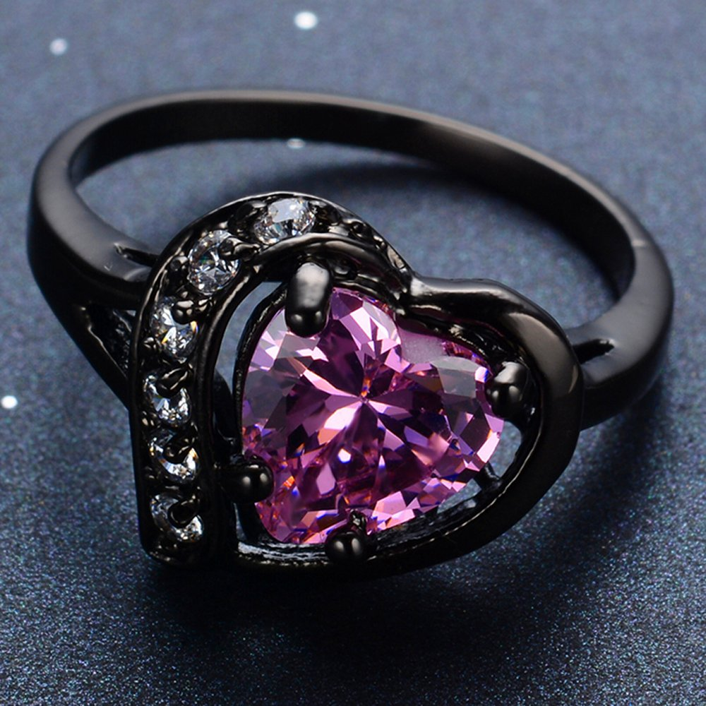 F/&T JEWEL Big Heart Shape Pink Sapphire Vintage Rings For Women Engagement Wedding Bridal Rings
