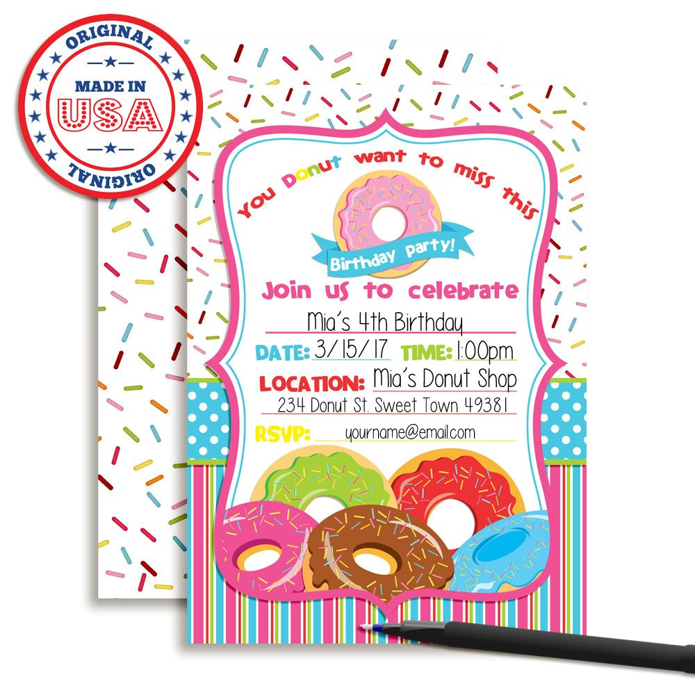Amazon.com: Pile of Donuts Fill In Birthday Party Invitations by ...