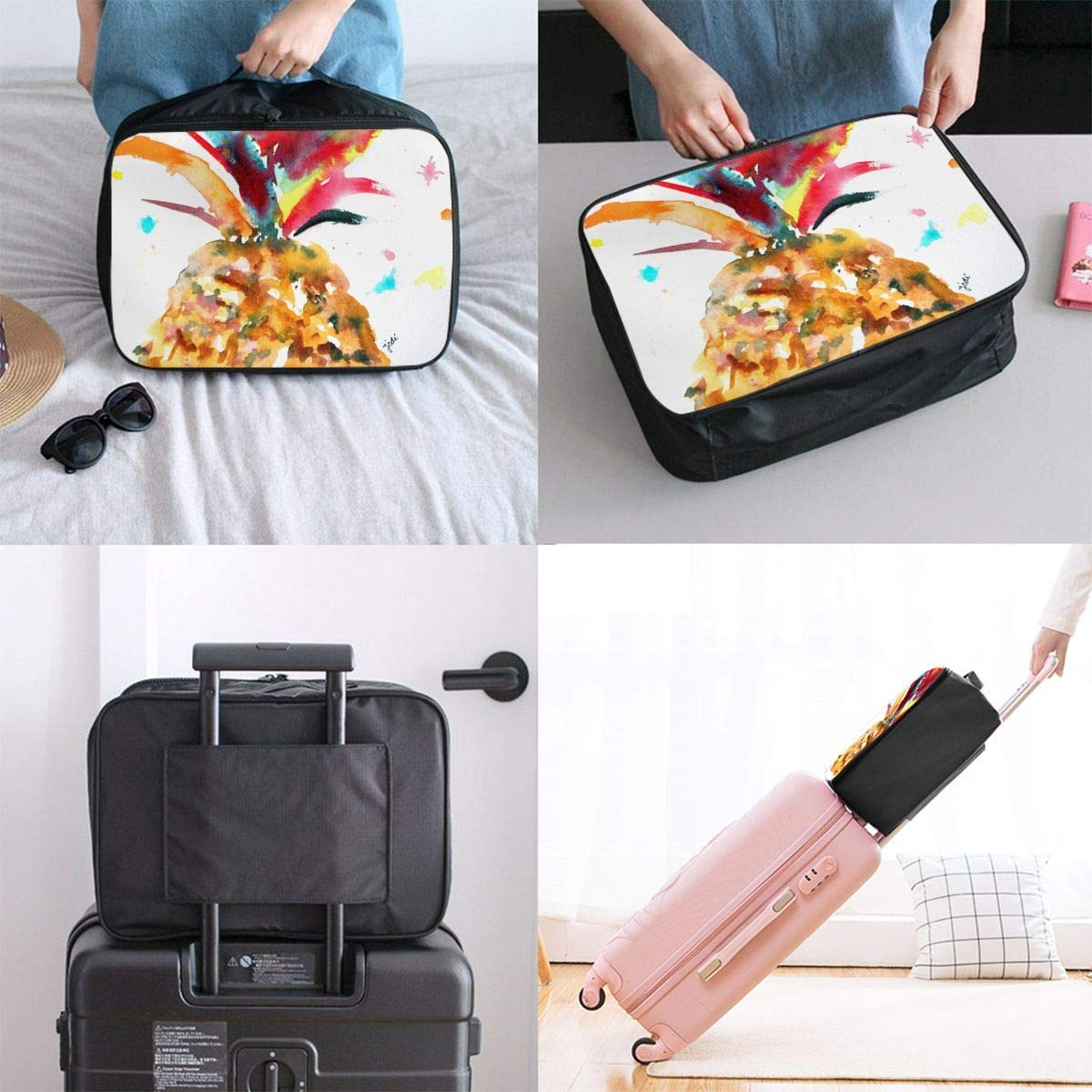 Lightweight Large Capacity Portable Duffel Bag for Men /& Women Watercolor Pineapple Travel Duffel Bag Backpack JTRVW Luggage Bags for Travel