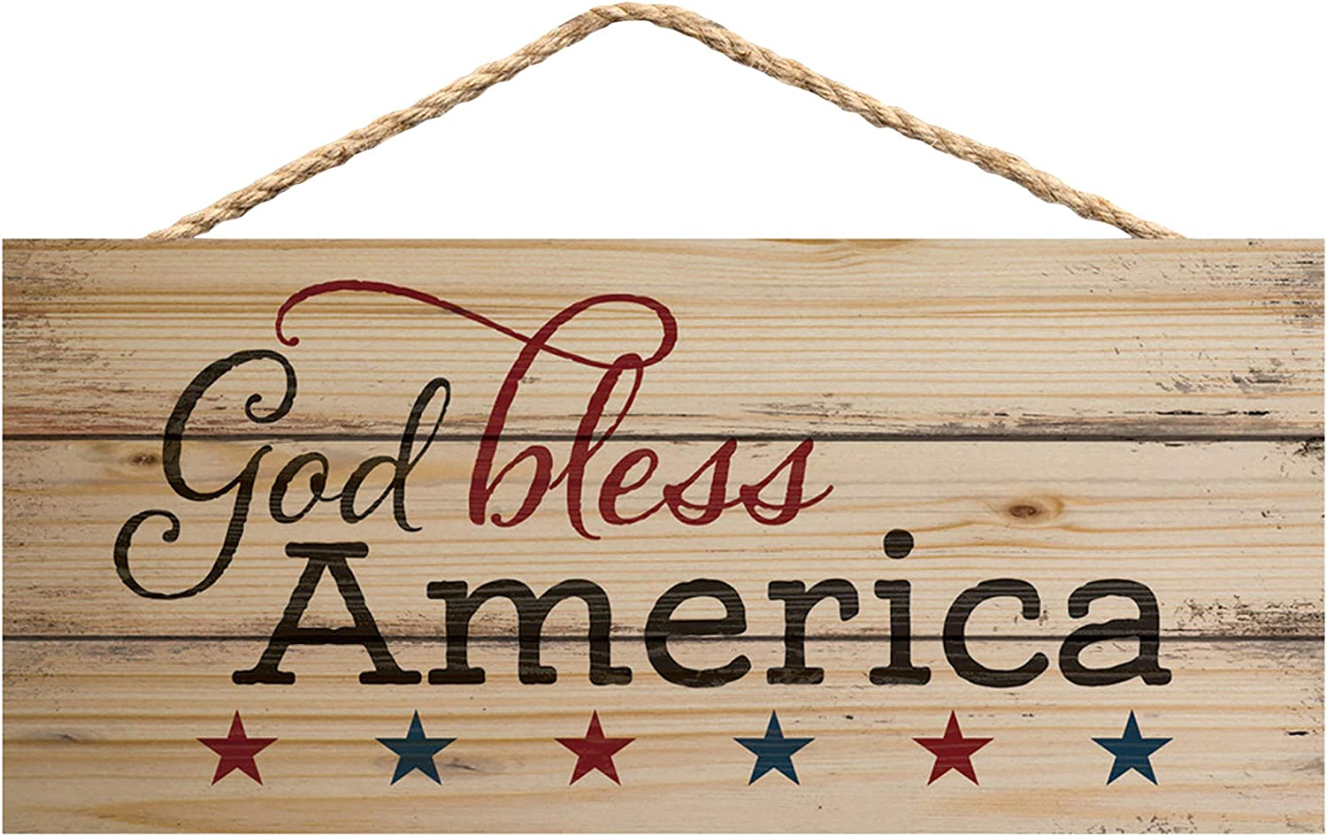 P. Graham Dunn God Bless America Patriotic Natural 10 x 4.5 Wood Wall Hanging Plaque Sign