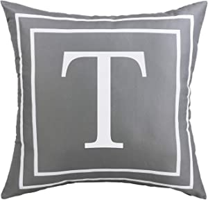 Fascidorm Gray Pillow Cover English Alphabet T Throw Pillow Case Modern Cushion Cover Square Pillowcase Decoration for Sofa Bed Chair Car 18 x 18 Inch