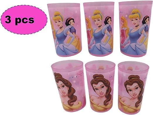 ML Pack de 3 Vasos plásticos para niñas- Vasos Ideal para Fiestas de cumpleaños Princesas Disney 240ml Rosa: Amazon.es: Hogar