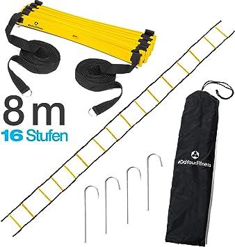 doyour Fitness Escalera de coordinación/Fitness Escalera – Longitud 4 m 6 m 8 m – Escalera de entrenamiento (en inglés. Agility Ladder) o condición física Escalera para movilidad Ejercicios/Entrenamiento de velocidad,