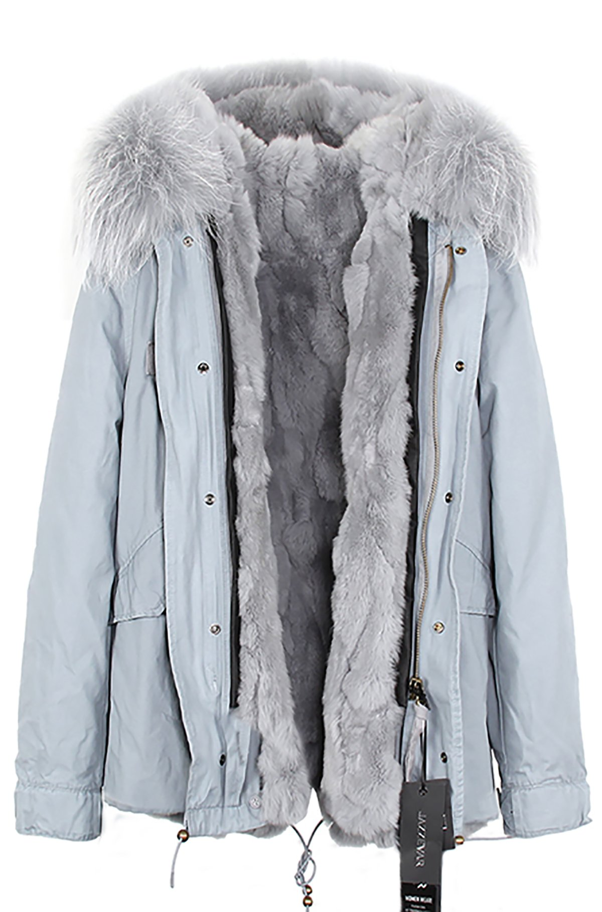 S.ROMZA Women Thick Real Rabbit Fur Parka Hooded Coat Winter Jacket Detachable Fur Trim (Medium, Grey) by S.ROMZA