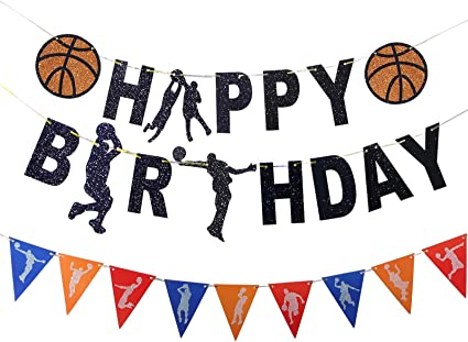 Amazon Com Basketball Banner Birthday Decoration Happy Birthday Basketball Theme Glitter Touch Garland Sign For Boy S Sport Theme Basketball Party Baby Shower Supplies Banner Toys Games