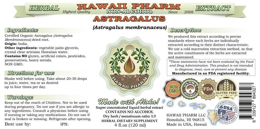 Astragalus Alcohol-FREE Liquid Extract, Organic Astragalus Astragalus membranaceus Dried Root Glycerite Hawaii Pharm Natural Herbal Supplement 4 oz