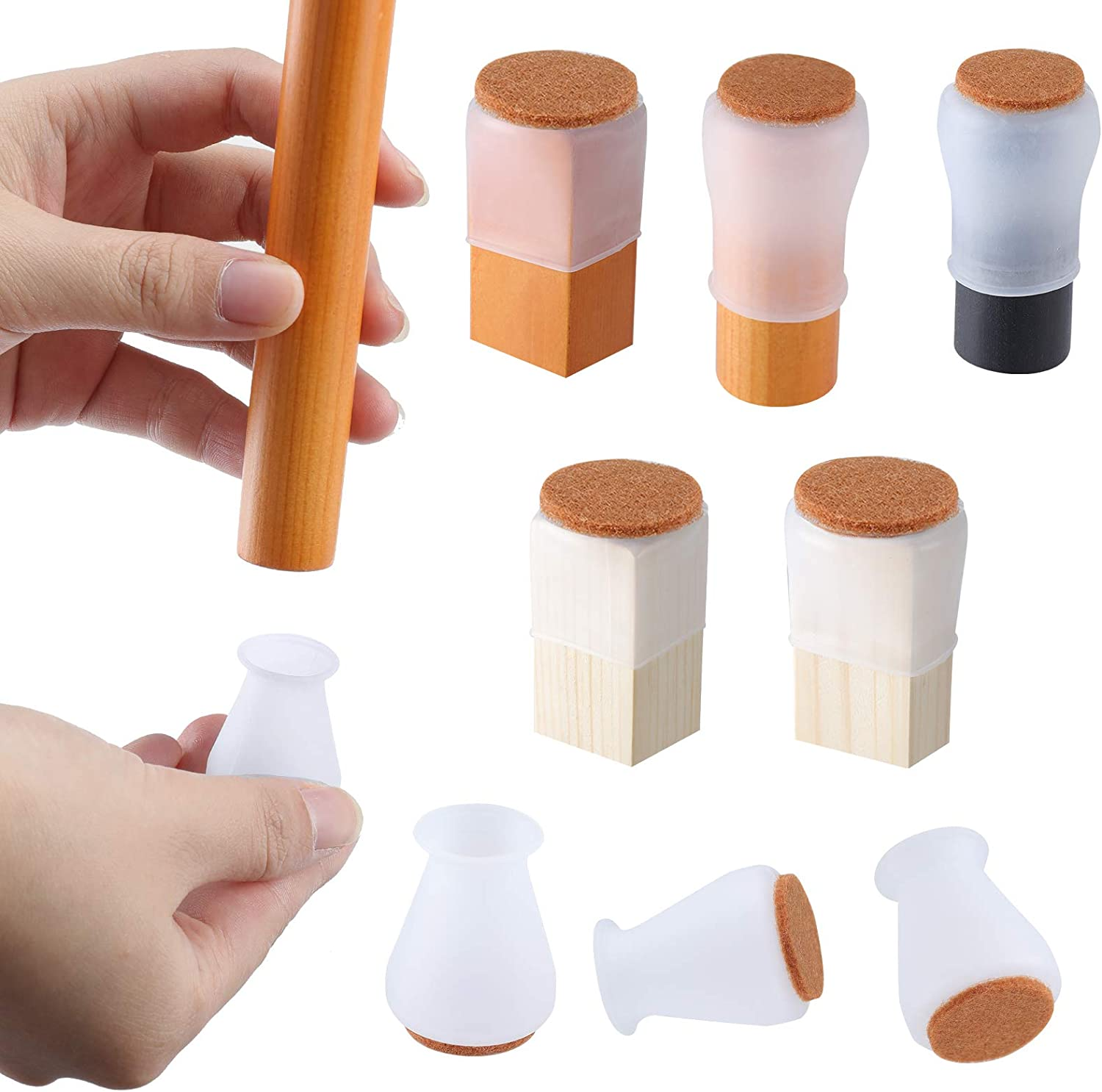 "Extra Small Silicone Chair Leg Floor Protectors with Felt, FIT 0.5"" to 1"" Glide Chair Leg Caps Silicon Furniture Leg Feet Cover Bottom Slide Protect Wooden Floor No Scratches No Noise Clear 16 Pcs"