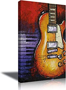 Guitar Wall Art Decor Oil Painting Style Music Wall Decor Abstract Canvas Art Guitar Decor for Music Classroom Living Room Gift for Music Lover Framed Ready to Hang