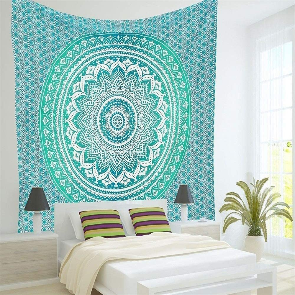 Tapestry Wall Hanging Madala Pattern Bohemian Flowers Lotus Circles Indian Hippie Teal Turquoise Blue BOHO Wall Tapestry Spring Fall Home Decor for Bedroom Living RoomPremium Peached Material