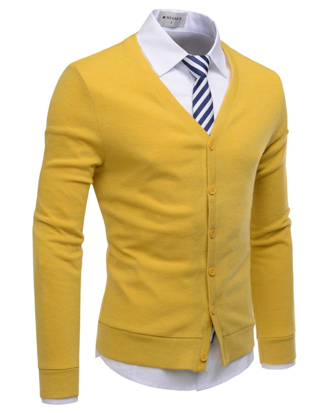 NEARKIN (NKNKCAC1) Mens Knitwear City Casual Slim Cut Long Sleeve Cardigan Sweaters MUSTARD US L(Tag size L)