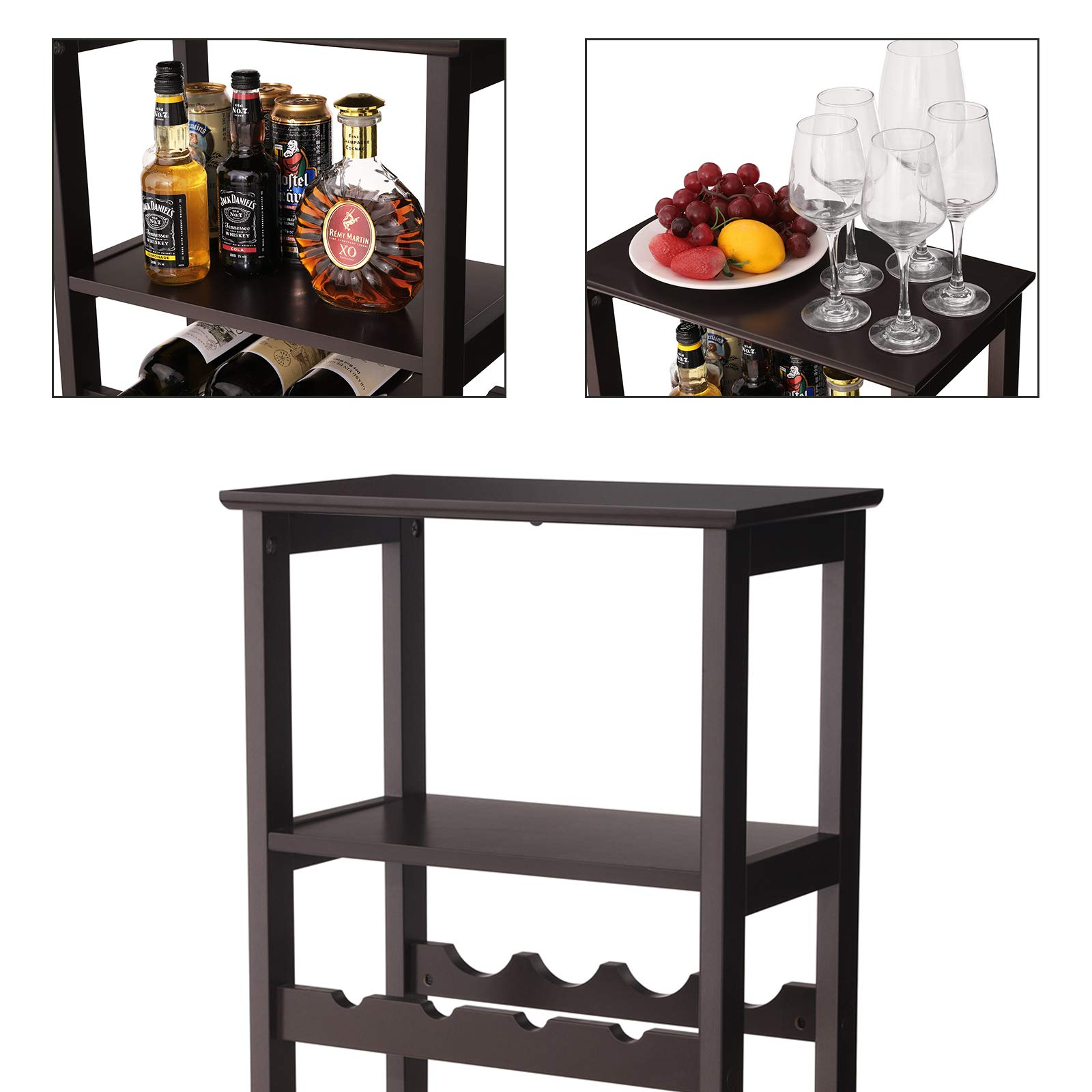 VASAGLE 20 Wooden Wine Rack, Free Standing Bottles Display Storage Shelf, with 2 Slatted Shelves,18.4''L × 10.4''W × 42.9''H, Espresso ULWR03BR by VASAGLE (Image #4)