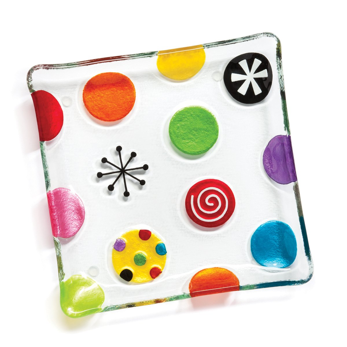 DEMDACO Silvestri Glass Fusion Dots Snack Plate DEMDACO - Home 20120109