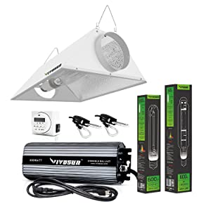 VIVOSUN Hydroponic 600 Watt HPS MH Grow Light Air Cooled Reflector Kit