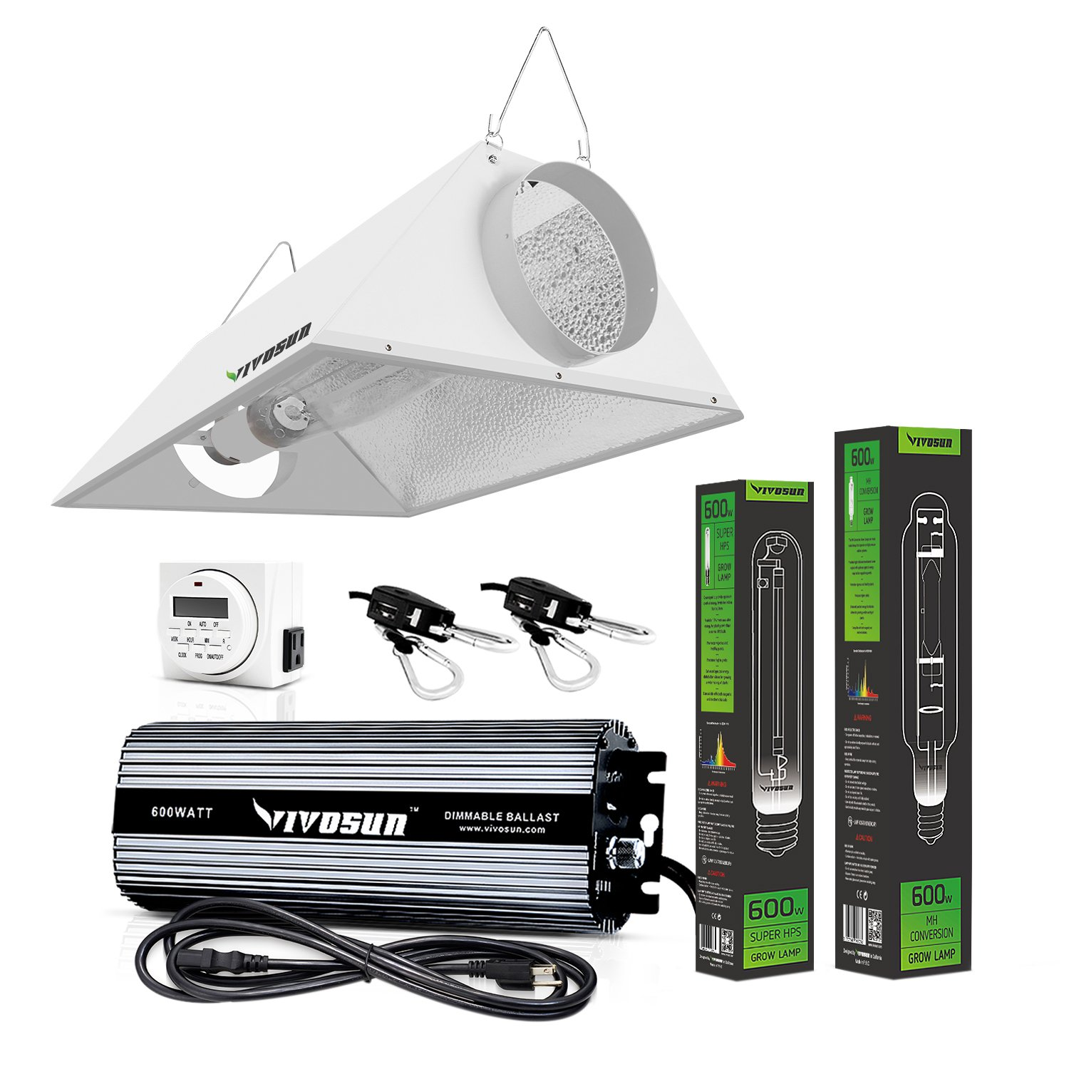 It comes with a complete package 600W grow light bulb, digital timer, digital ballast and reflector