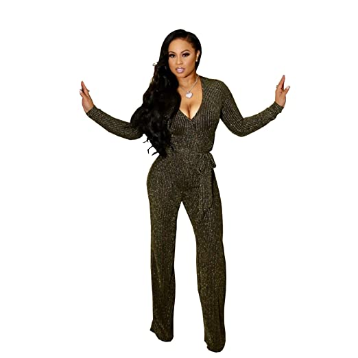 Amazoncom Sparkly Sexy Jumpsuits For Women Clubwear Long Sleeve