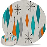 Vandarllin Drink Coasters Retro Modern Mid Century Geometric Absorbent Stone Ceramic Coaster with Cork Back and NO Holder for Cups, Set of 4-Piece