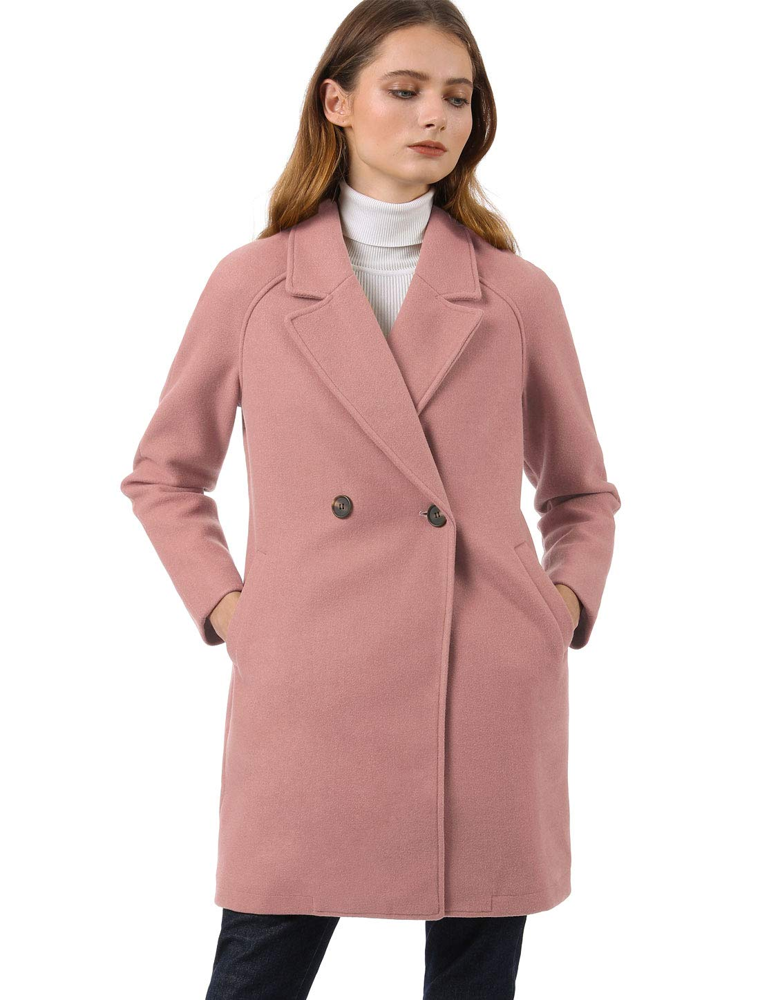 Allegra K Women's Notched Lapel Double Breasted Raglan Winter Coats Rose Pink S (US 6) by Allegra K