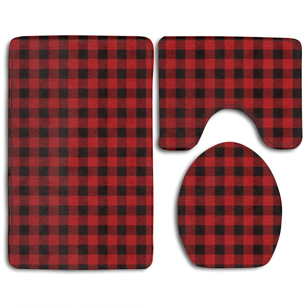 Soft Toilet Rug 3 Pieces Set,Buffalo Plaid Design, Non Slip Bathroom Rugs, U-Shaped Toilet Mat, Toilet Lid Cover ZHOULO