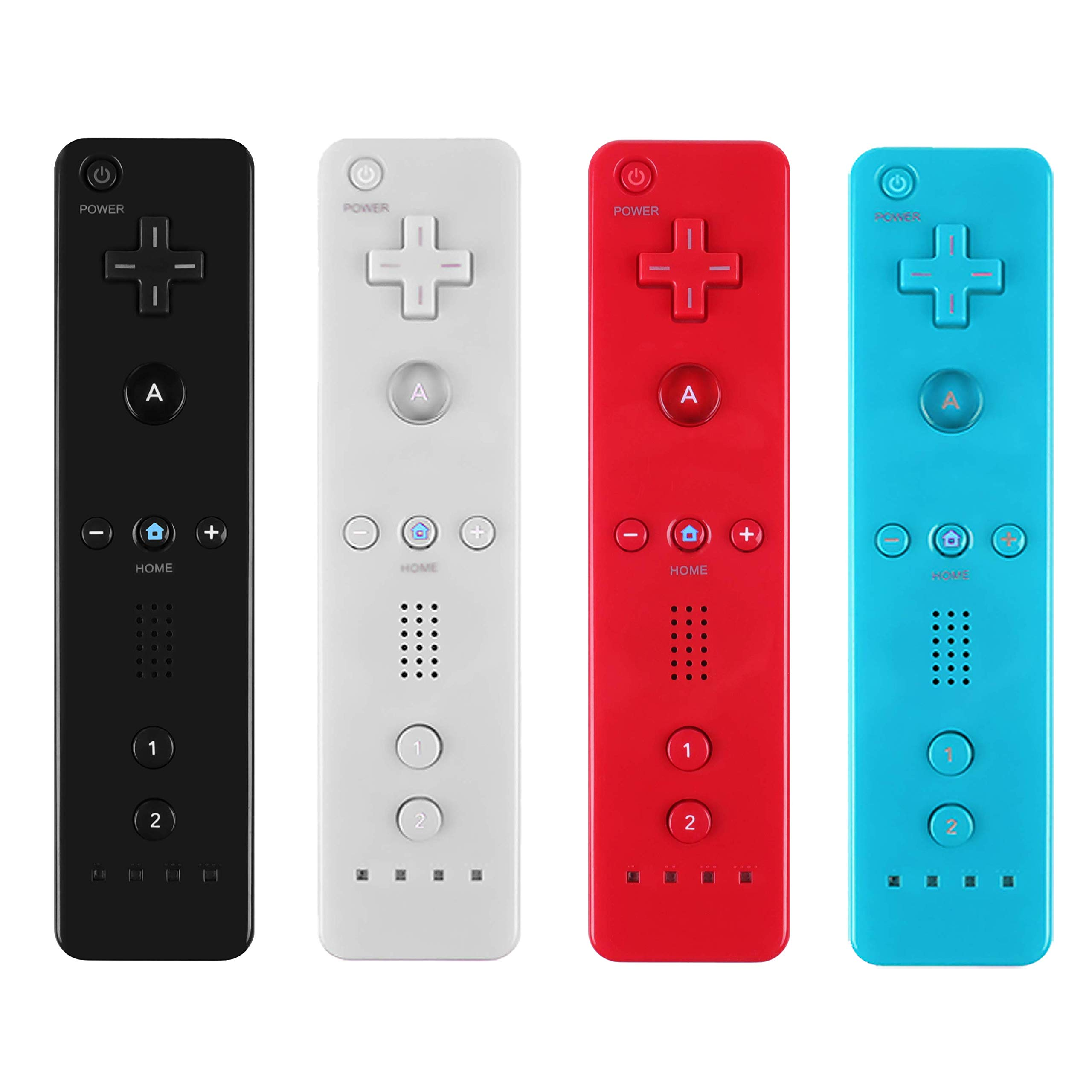Yosikr Remote Wireless Controller Compatible for Nintendo wii/wii u Console - with Silicone Case and Wrist Strap (4 Pack White+Black+Blue+Red)