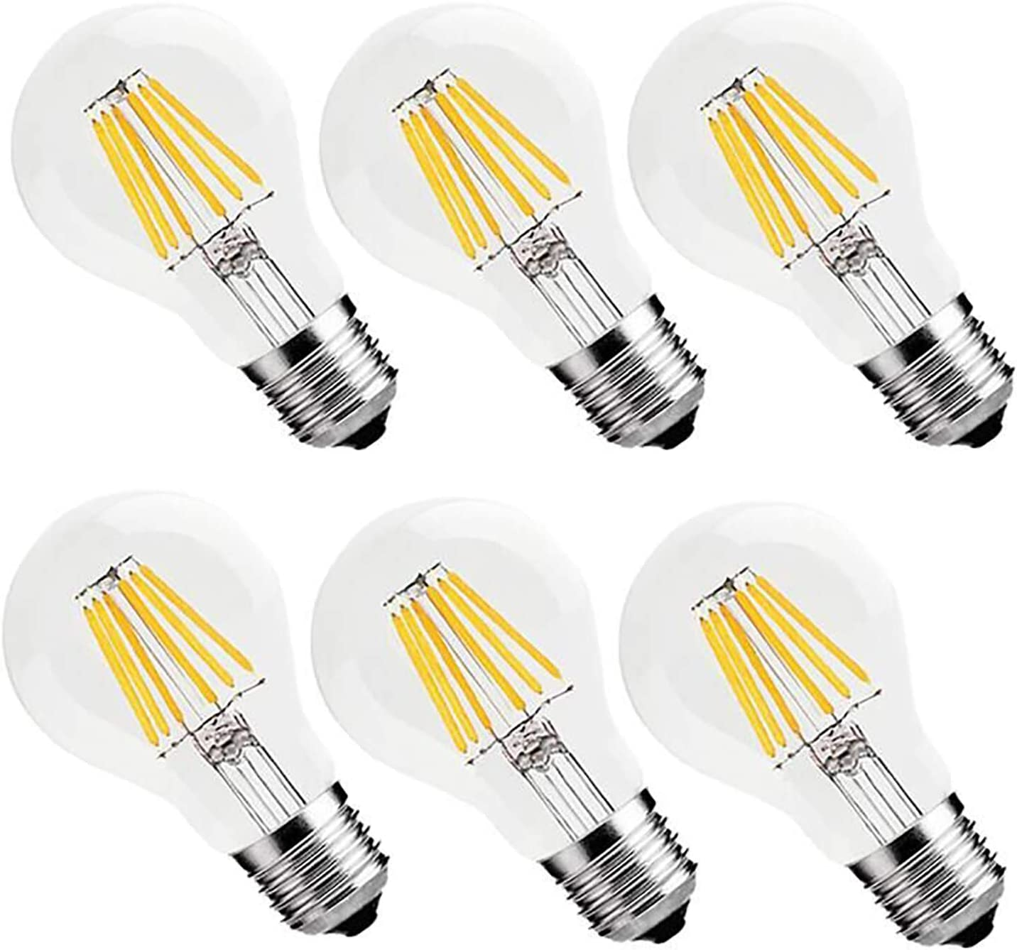 Vintage Led Filament Bulb 6w 60w Equivalent Classic Edison A19 A60 Led Light Bulbs E26 Medium Base Lamp 2700k Warm White 600 Lumens Dimmable Pack Of 6