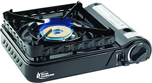 Sterno 50108 Portable Butane Stove with Piezo Electronic Ignition and Wind-Block Attachment, 15,000 BTU, Black