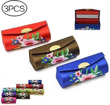 3 bolsas para pintalabios con espejo, diseño de flores vococales retro con bordado premium, caja de soporte con espejo, color al azar: Amazon.es: Belleza