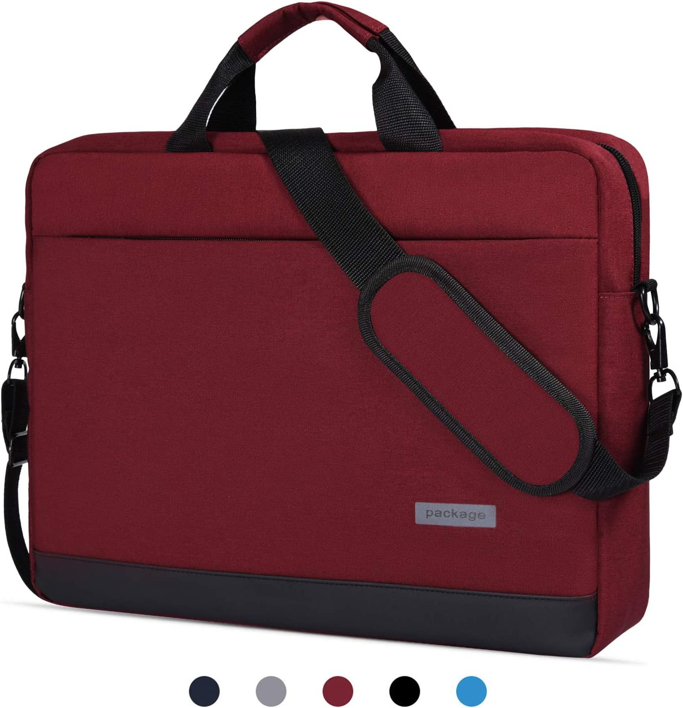 "14-15 Inch Laptop Sleeve Case Messenger Bag Waterproof Shockproof Shoulder Bag Compatible with Acer Chromebook 14,LG Gram 14"", HP Stream 14, 14"" Samsung Dell Toshiba HP ASUS Acer Notebook Bag,Red Wine"