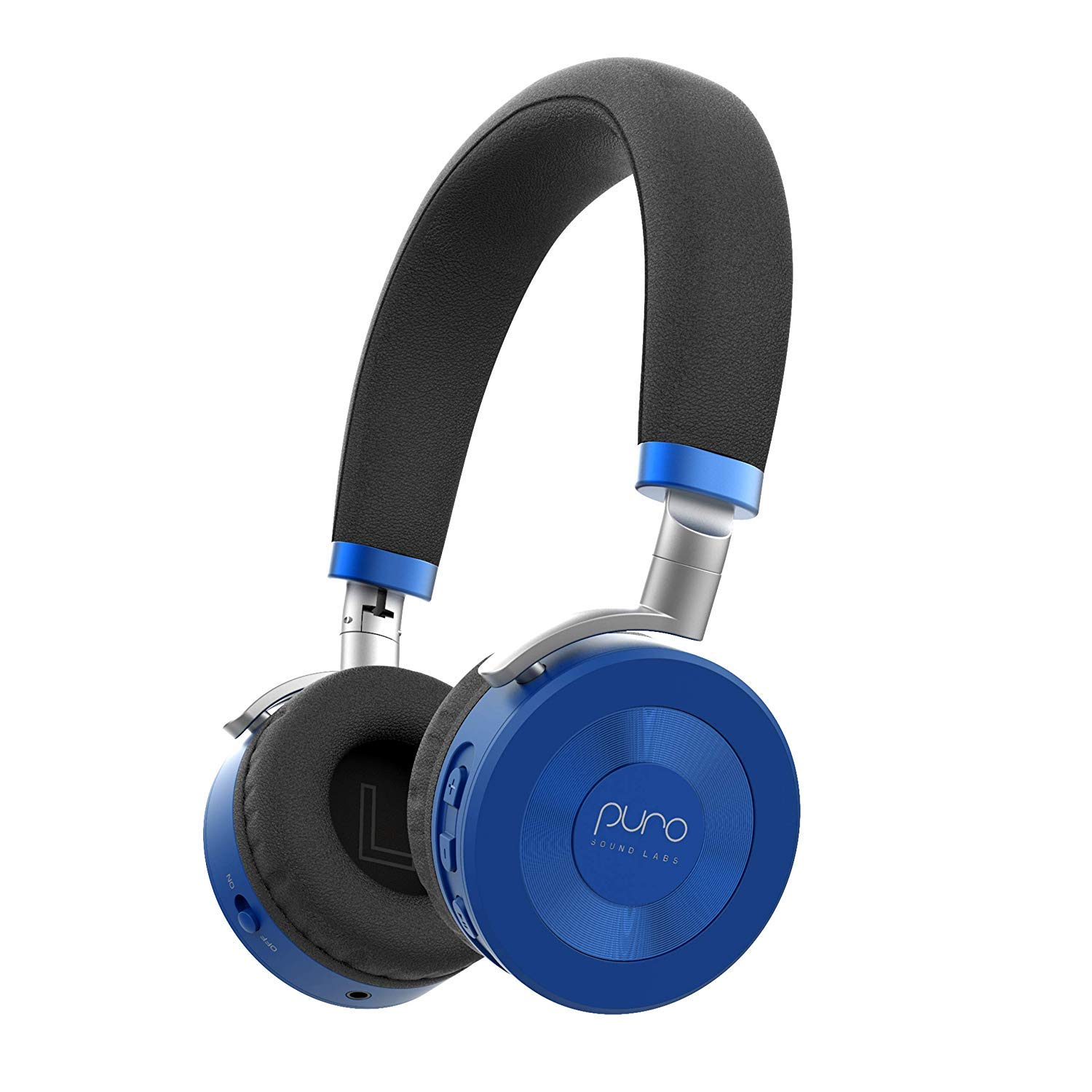 JuniorJams Volume Limiting Headphones for Kids 3+ Protect Hearing - Foldable & Adjustable Bluetooth Wireless Headphones for Tablets, Smartphones, PCs - 22-Hour Battery Life by Puro Sound Labs, Blue by Puro Sound Labs