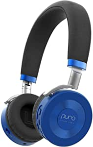 JuniorJams Volume Limiting Headphones for Kids 3+ Protect Hearing – Foldable & Adjustable Bluetooth Wireless Headphones for Tablets, Smartphones, PCs – 22-Hour Battery Life by Puro Sound Labs, Blue