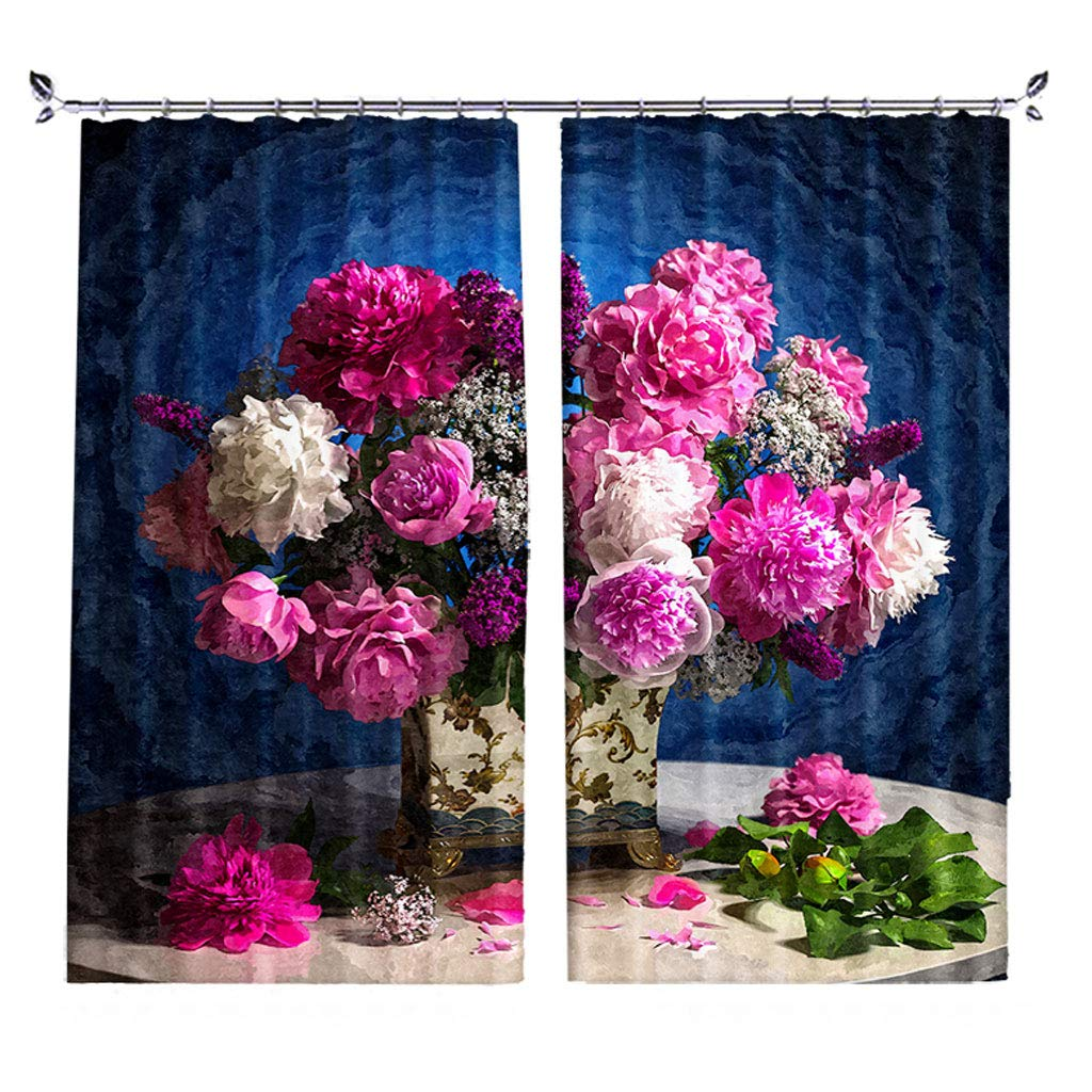 ZZHL Curtains Curtains,Hooks Rings Blackout Set Thermal Insulated Window Treatment Solid Eyelet Bedroom 2 Panels Flower A1 (Size : 1.1x1.8m)