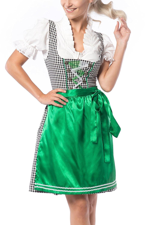 Partychimp Damen Dirndl Birgit Grün/Schwarz mit einer Bluße und Schürze, größe 36-46