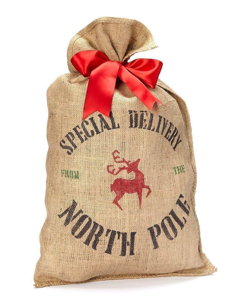 B015GFACHY Burlap Santa Sack Christmas Present Bag Wrapping 71X8zyTxSTL