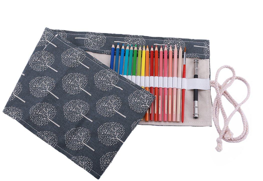 amoyie Sacchetto della Matita Rotolo Astuccio per 36 Matite Colorate Tela Organizer Borsa no inclusa matite