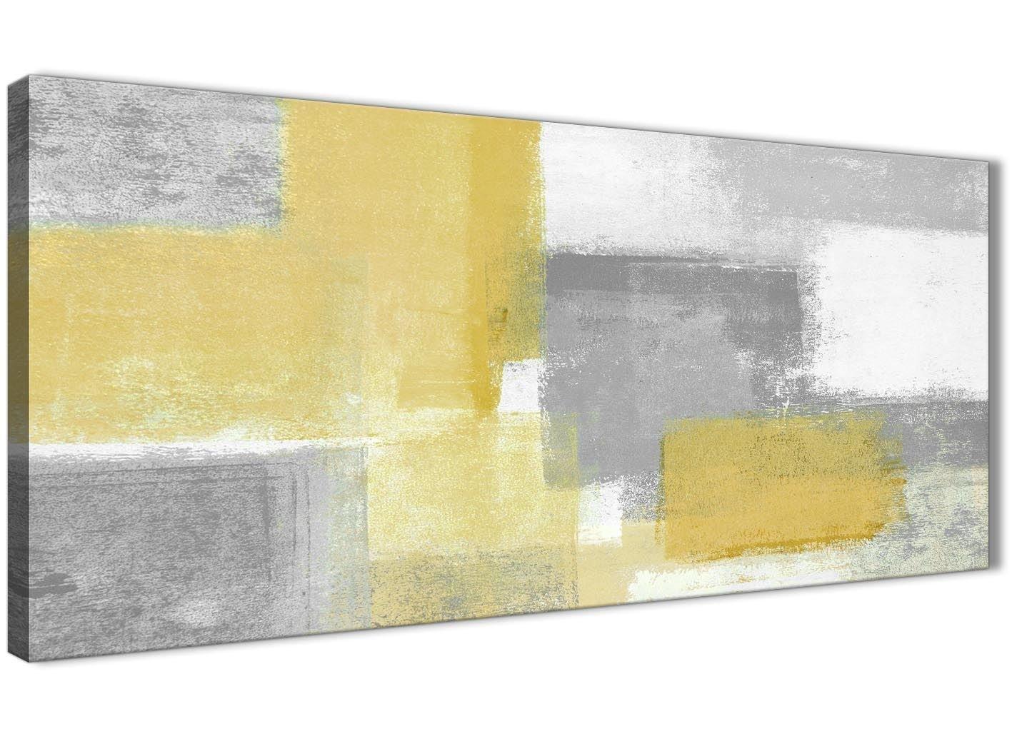 Senf Gelb Grau Wohnzimmer Leinwand Bilder Zubehör–Abstrakt 1367–120cm Print Wallfillers
