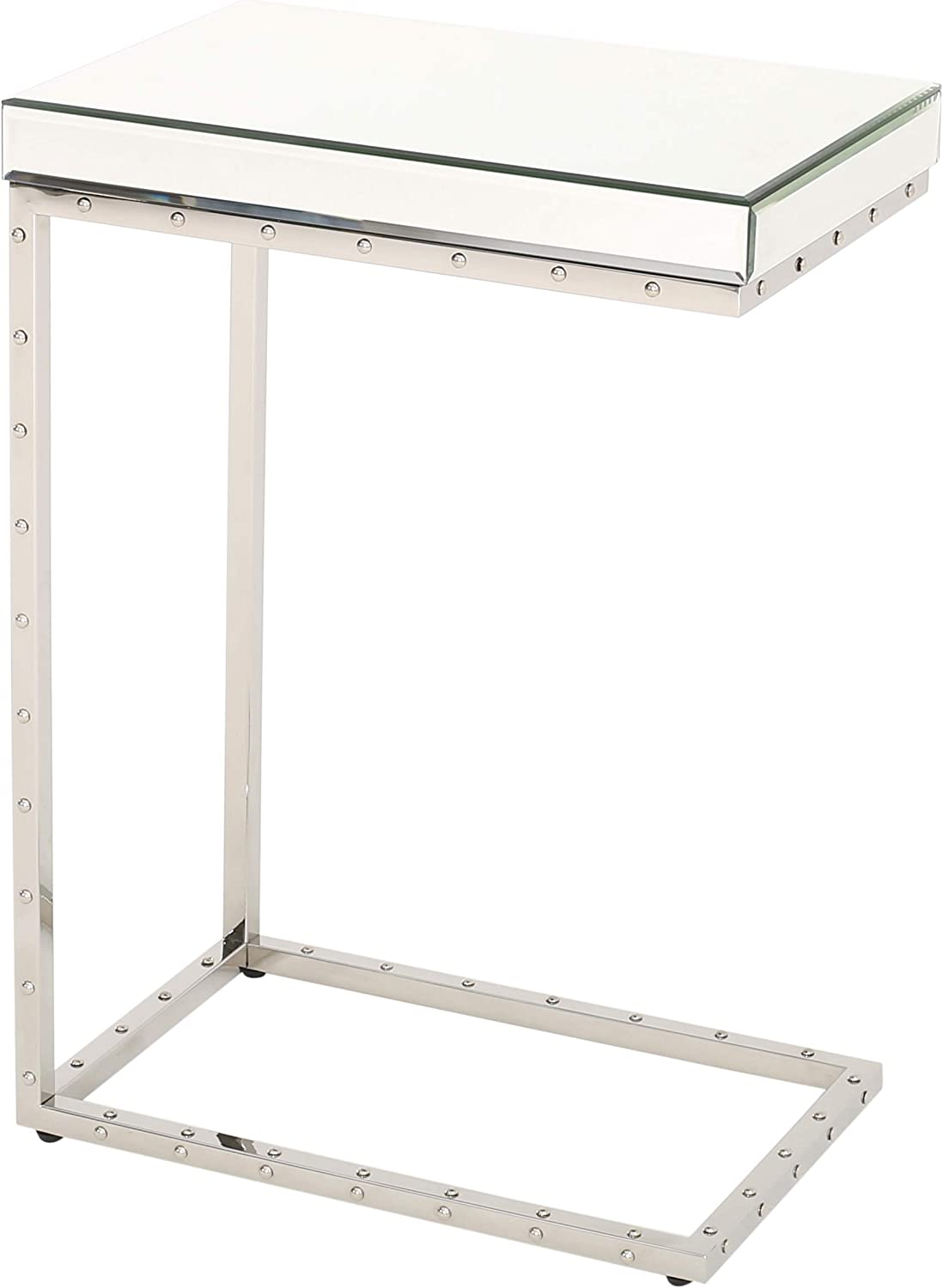 Christopher Knight Home Flynn Mirrored Side Table with Rivet, Clear / Mirror