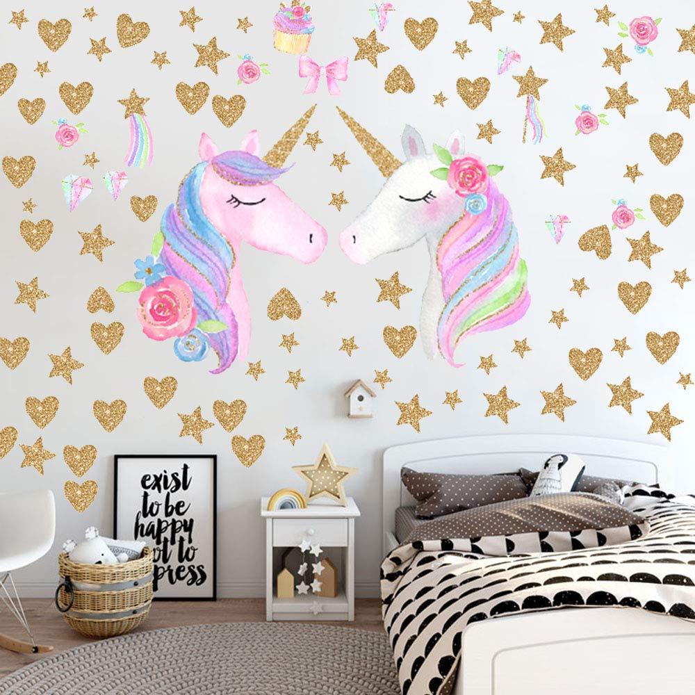 Unicorn Wall Decals,Unicorn Wall Sticker Decor with Heart Flower Birthday Christmas Gifts for Boys Girls Kids Bedroom Decor Nursery Room Home Decor Unicorn-B