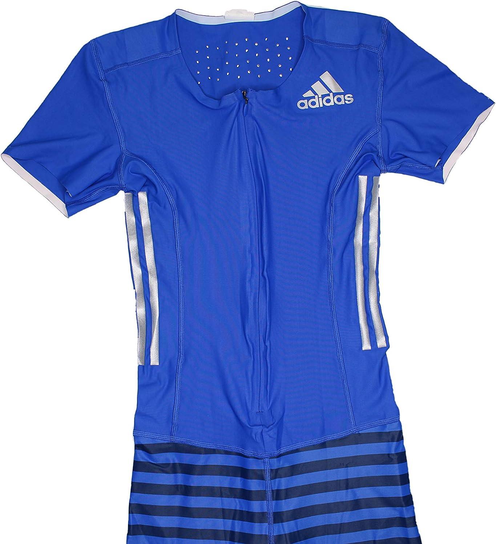 hardware Dos grados ozono  Amazon.com: adidas Adizero Short Sleeve Track & Field Speedsuit (S) Blue:  Clothing