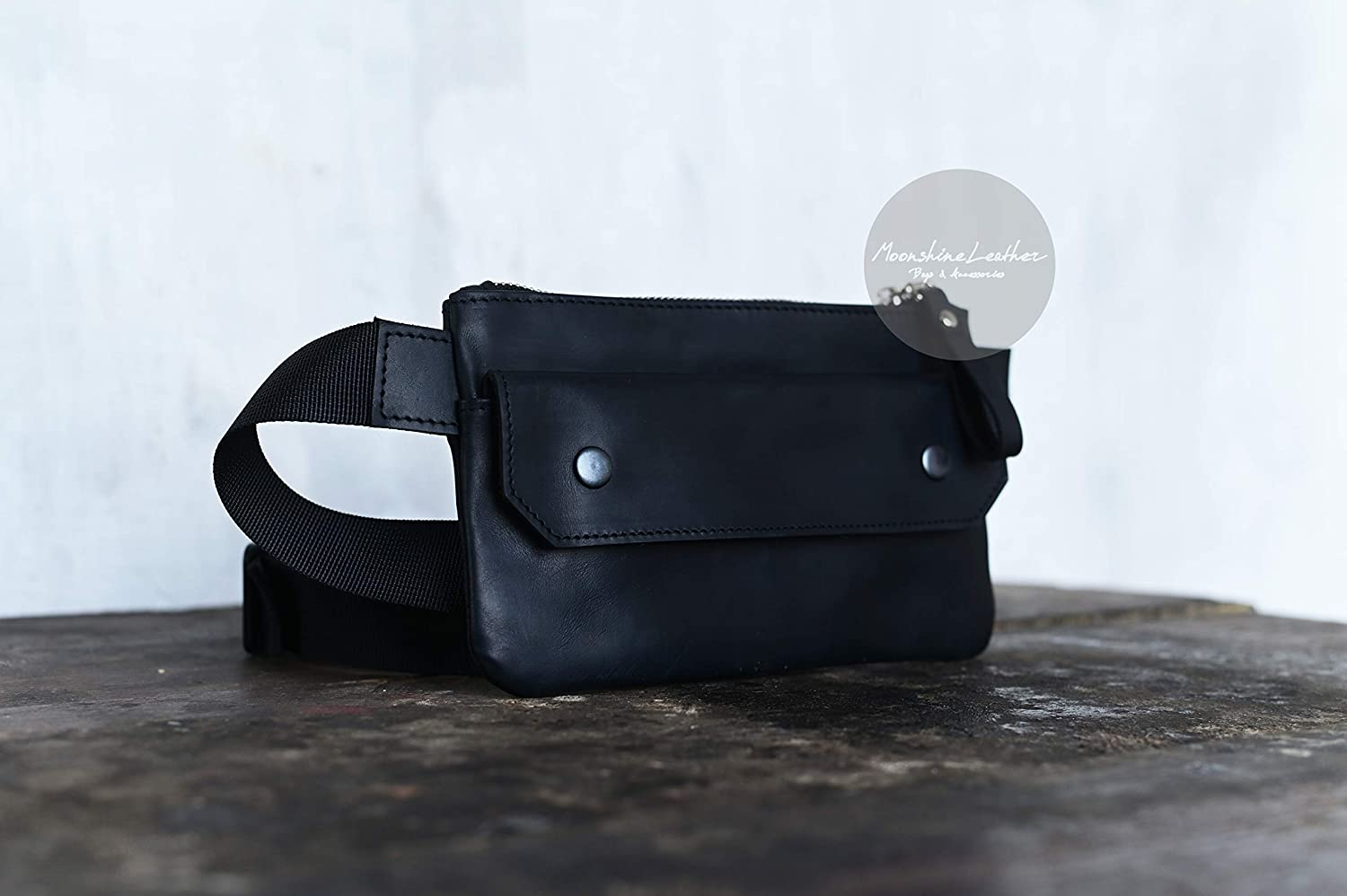 Handcrafted real leather waist bag  bum bag  hip bag  fanny pack