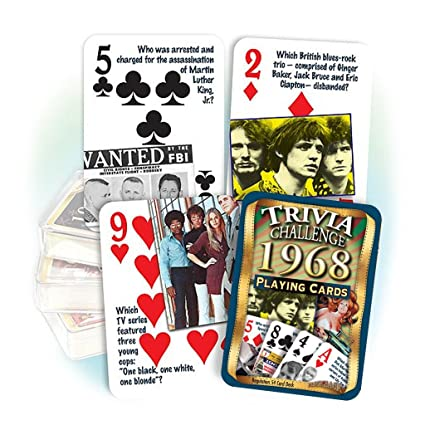 Amazon Flickback Media Inc 1968 Trivia Playing Cards 50th