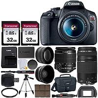 Canon EOS Rebel T7 Digital SLR Camera + EF-S 18-55mm f 3.5-5.6 is II Lens + EF 75-300mm f/4-5.6 III Lens + EOS Shoulder Bag + 32GB Memory Card + 58mm Wide Angle & Telephoto Lens + Tripod + UV Filter
